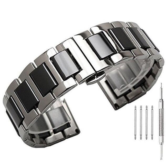 Браслет из нержавеющей стали с керамическим ремешком для Samsung Gear S3 Band, браслет для Galaxy Watch 3, 41 мм 45 мм 46 мм/42 мм/Active 2, 22 мм 20 мм