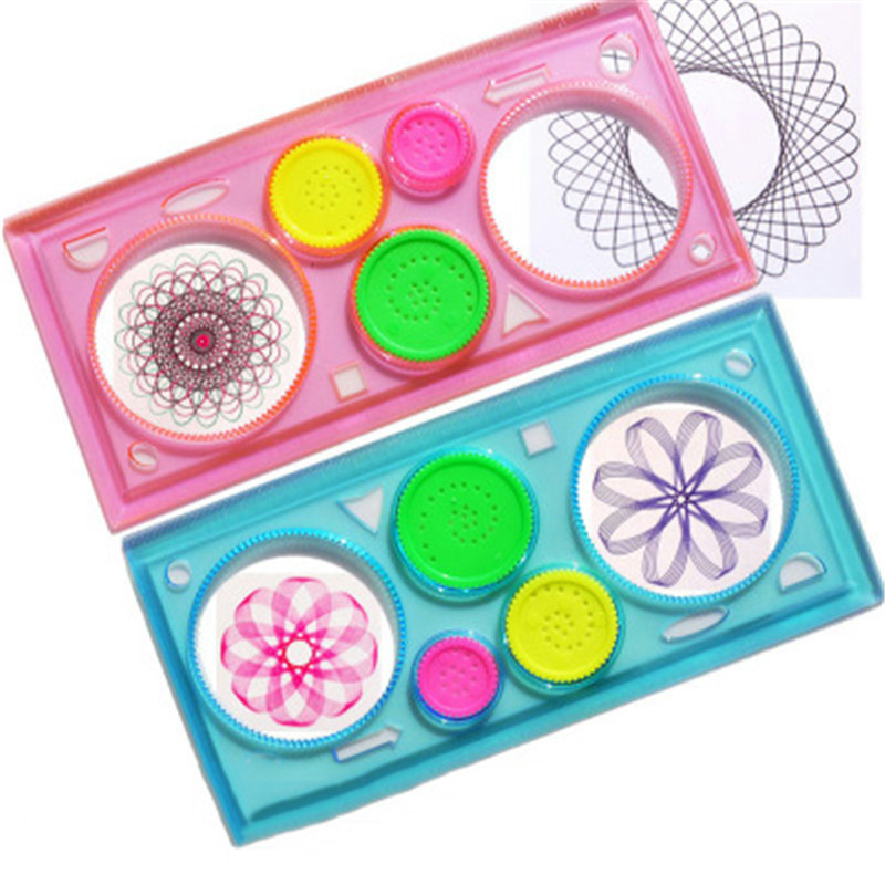 Baby Drawing Toys Set Children Multi-function Painting Puzzle Spirograph Geometric Ruler Drafting Tool Learning Art Tool For Kid