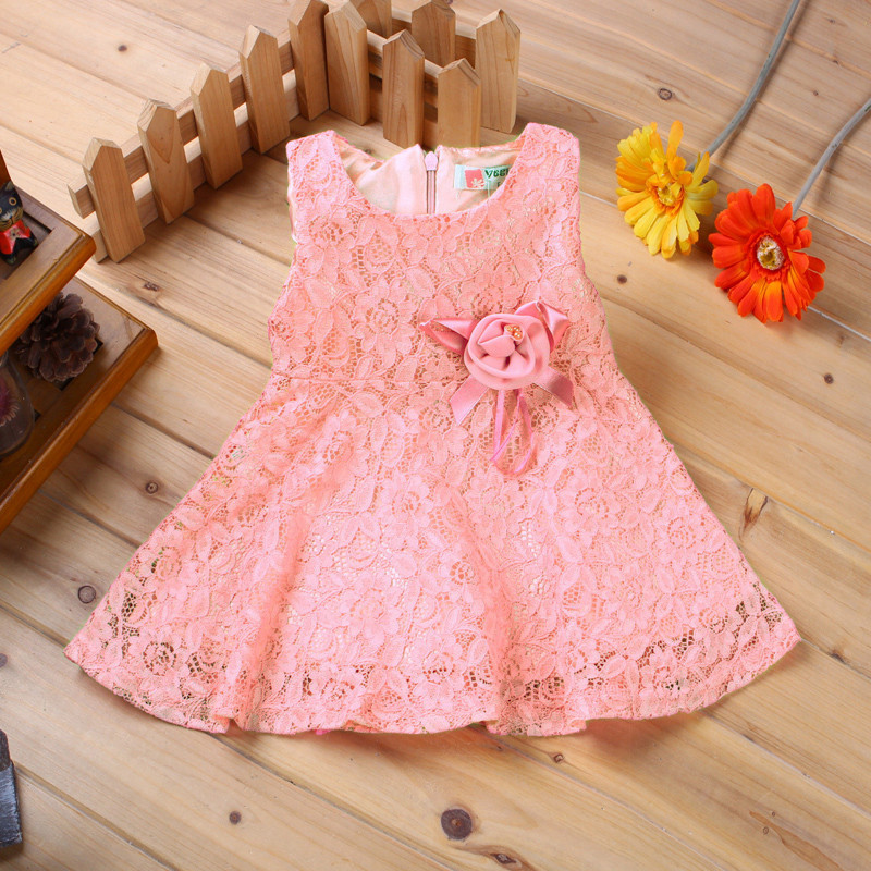 Summer 2017 Baby Red Dresses Girl Princess Dress Flower Toddler Infant Newborn Baby Girls Party Wedding Dress Baby Lace Dress