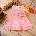 Vestidos de Princesa de la Muchacha de Flor Vestido de verano 2016 de la Marca Bebé Niño Del Niño Recién Nacido Del Bebé Party Girls Bebé Del Vestido De Boda Vestido de Encaje