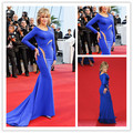Sexy Jane Fonda Long Sleeve Sheer Mermaid Long Train Celebrity Dress Cannes Festival 2015 Evening Gowns Evening Dresses CD08