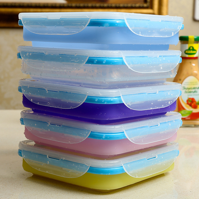 Kitchen Creative colorful Telescopic Foldable Food-grade Silicone Lunch Box Food Container Bowl dish dinnerware & Kitchen Creative colorful Telescopic Foldable Food grade Silicone ...
