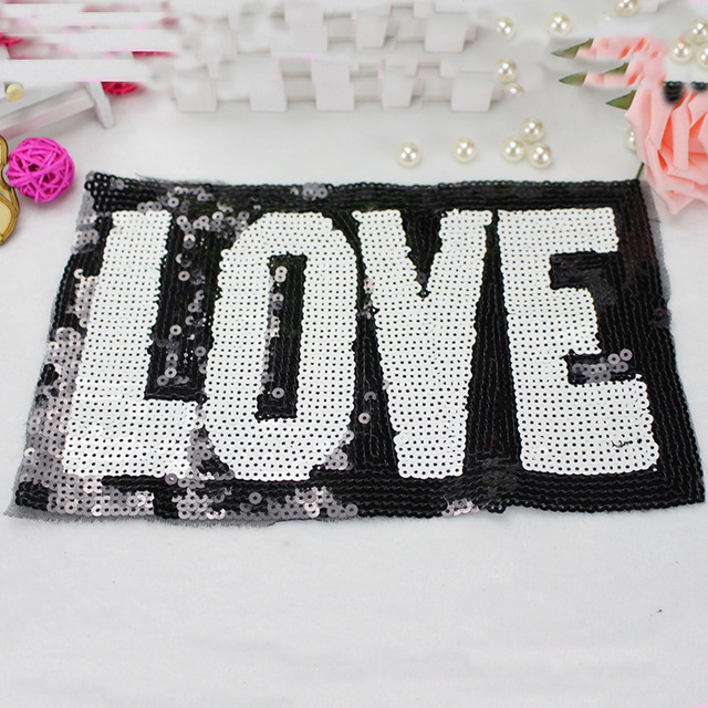 10pcs Love Sequins Embroidered Patch For Clothing Printing Patches