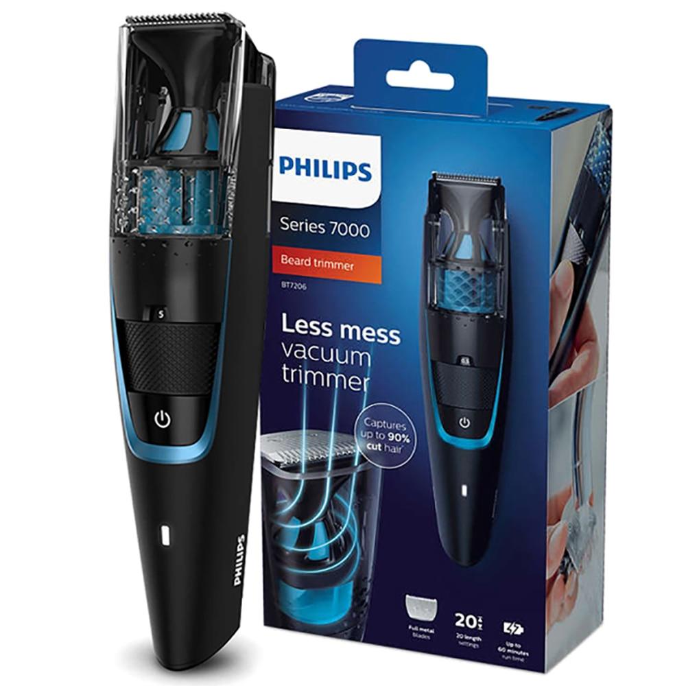 Philips вакуумный триммер для бороды Modeler беспроводные и проводные 1 час быстрая зарядка для мужчин электробритва бритвы BT7201/15 черный