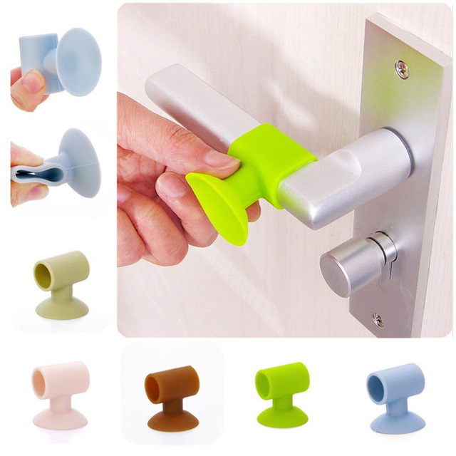 1PC Baby Safety Door Knob Silencer Crash Pad Wall Protectors Silicone Door Stopper Anti Collision Stop Products 4 Colors