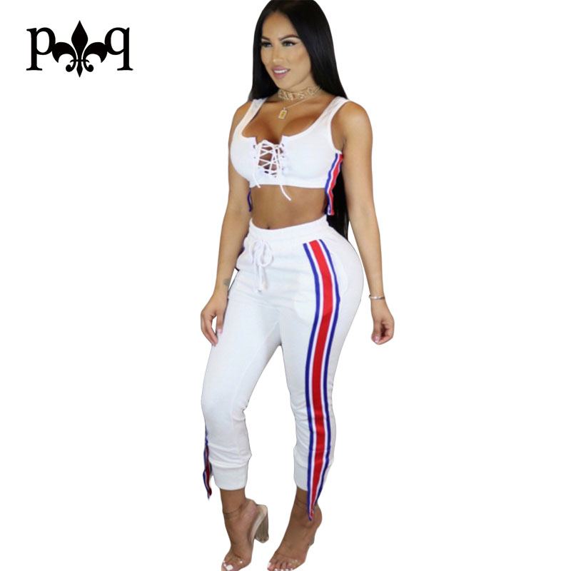 Hilove Women Jumpsuits Casual Side Stripe Women Pants Lace Up Bodycon Jumpsuits Sexy Party Club Female