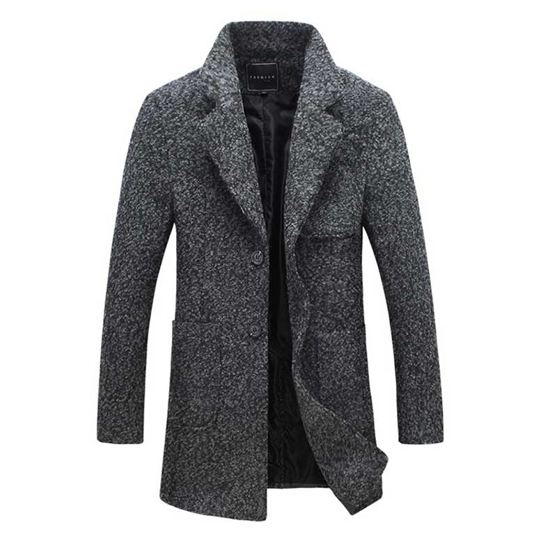 Wool Jacket Overcoat 5XL Mens Woolen Jacket Coat Long Casaco Masculino Fashion Autumn Winter Warm Trench Coat Single Breasted цена
