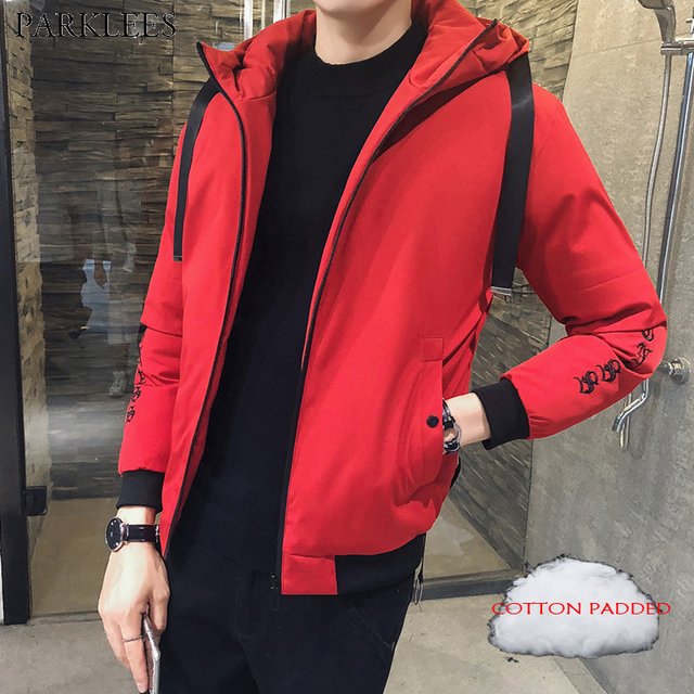 4638fcc5f8e34 Red Winter Puffer Hooded Jacket Men Youth 2018 Brand Cotton Padded Jackets  Coats Mens Casual Warm Short Outwear Winterjas Heren