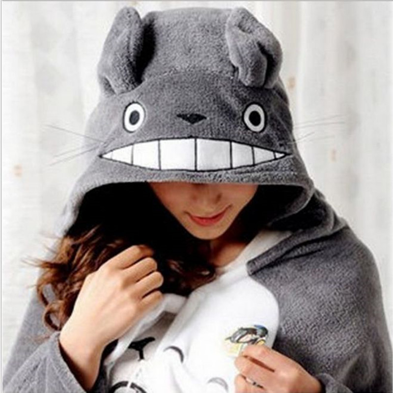 Free Shipping Totoro Lovely Plush Soft Cloak Totoro Cape Cat Cartoon Cloak Coral Fleece Air Blankets