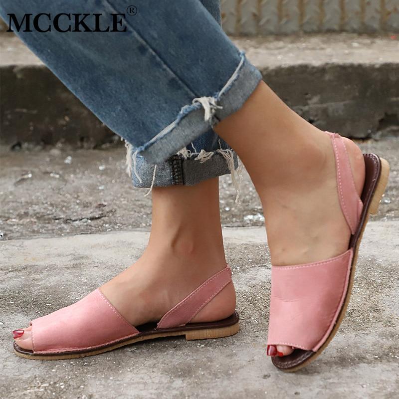 MCCKLE Summer Sandals Women Plus Size Flats Female Casual Peep Toe Shoes Faux Suede Slip On Innrech Market.com