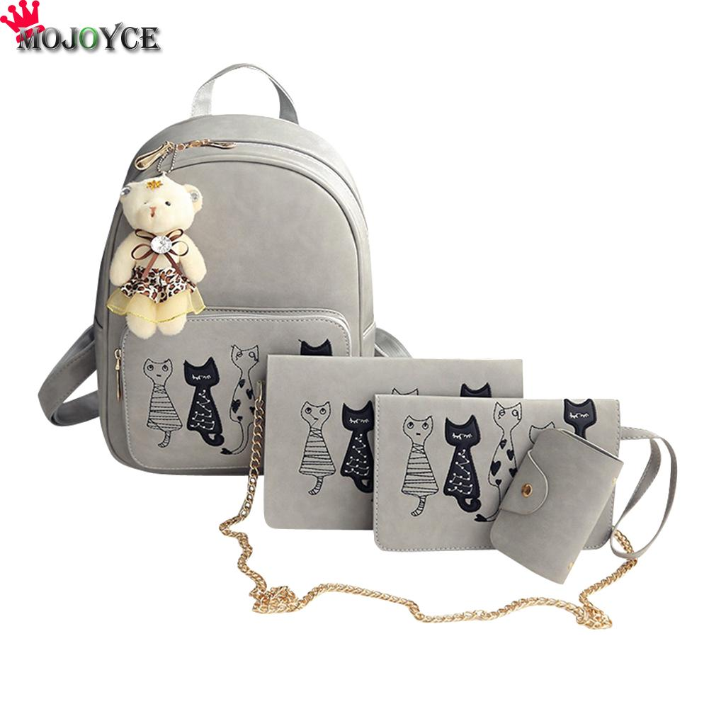 4pcs/set Backpack Women Cat Printing Pu Leather Backpacks Students School Bags For Teenage Girls Mochila Feminina Sac A Dos Mini #3