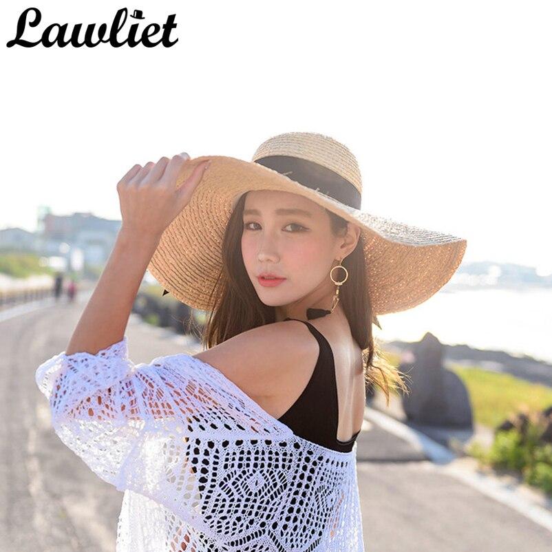 61ff94c42fe Summer Women Hat Kentucky Derby Hat 18cm Large Wide Brim Raffia Straw Hats  Feminino Floppy Sun Beach Cap Summer Hats for Women -in Sun Hats from  Apparel ...