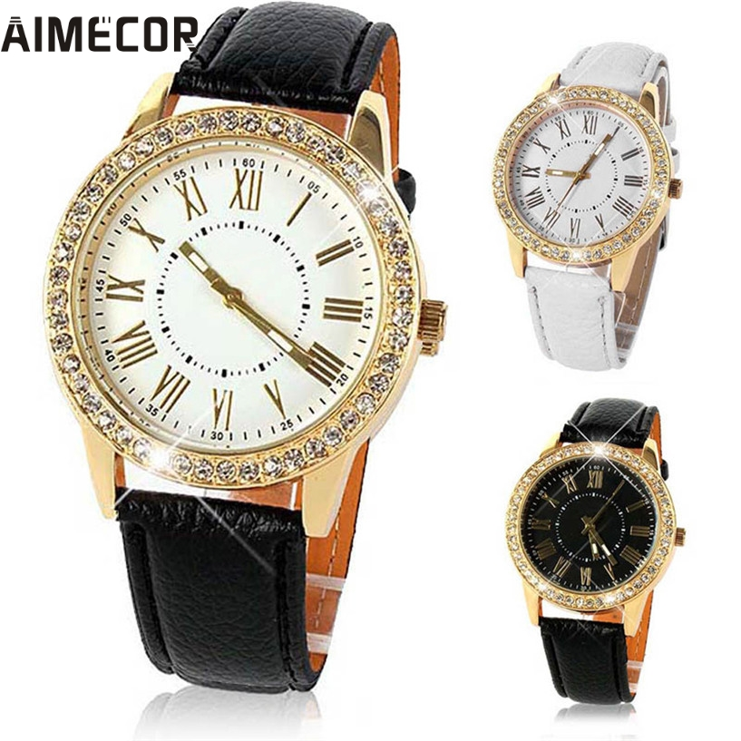 Aimecor new fashion watch women ladies gils crystal quartz watch dress round analog women watch for Crystal watches