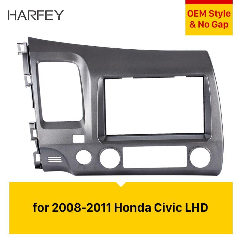 Harfey 2Din voiture Radio Fascia Installation garniture tableau de bord Kit cadre stéréo pour 2008 2009 2010 2011 Honda Civic LHD avec trou SRS