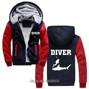 Image 2 - מכירה לוהטת עבה צולל חולצות כריש דגים Scuba Diver ים יום הולדת הווה Snorkle סנפירים נים מעיל Harajuku Streetwear