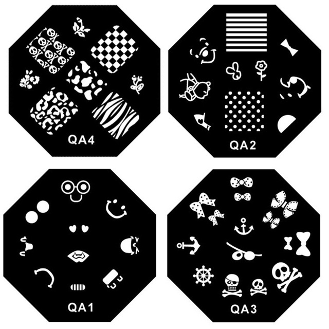 Octagon Stainless Steel Nail Art Stamp Stamping Template, Printing Image Plate, 1pc