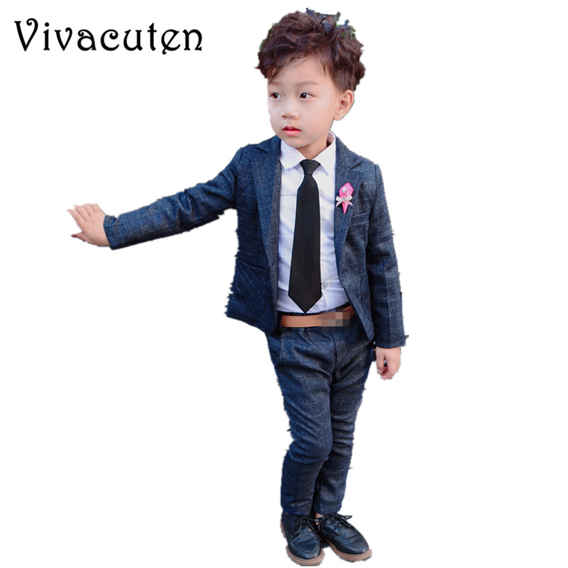 Brand Flower Boys Formal Suit Set for Wedding Kids Plaid Blazer Shirt Pants 3pcs Set Children Costume Dress Groom Clothes F129 hot new children suit baby boys suits kids blazer boys formal suit for wedding boys clothes set jackets blazer pants 3pcs 2 10y
