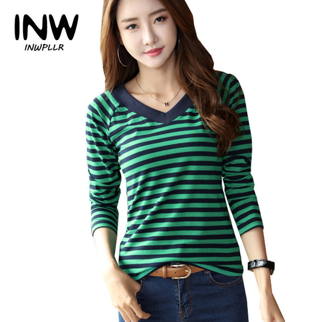daa0d747748 2019 Fashion Green Striped Tops Tees Women Casual Plus Size T-shirt V-neck