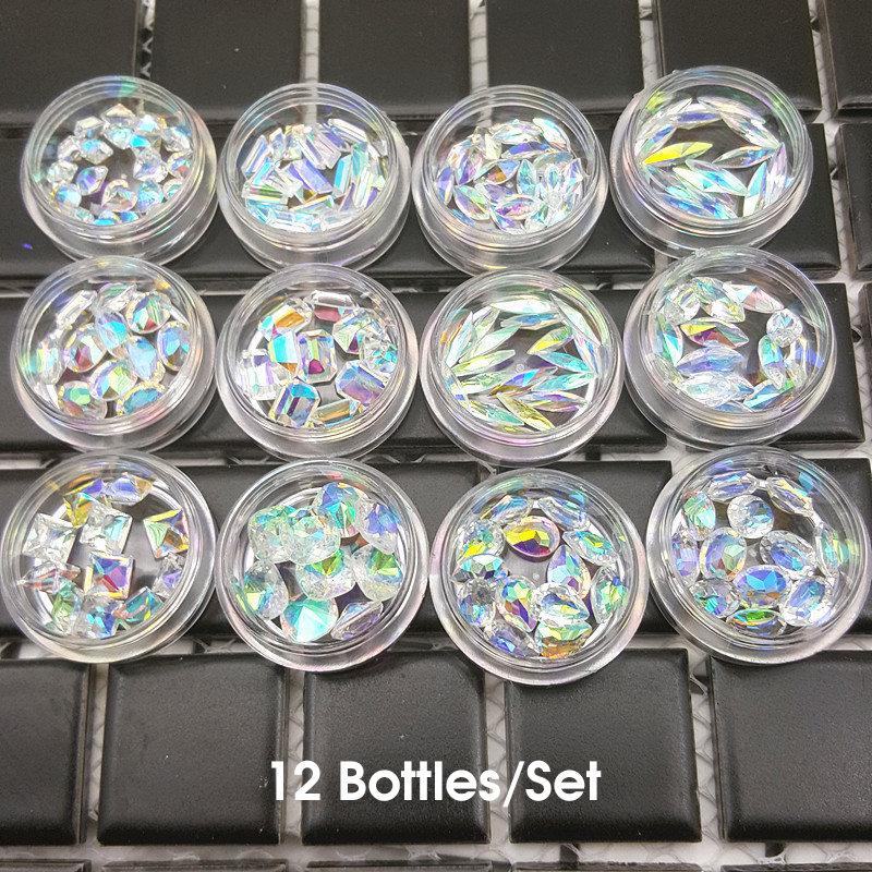 New 1 Set Hot Fashion Pointed Back Clear AB Color Nail Art Resin Crystal Top Quality Nail Rhinestone 12 Bottles Nail Art Set Kit