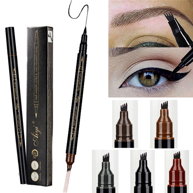 Eyebrow Liquid Pencil Microblading Double Head 4 Tips Eyes Make Up Tint Henna Easy to Wear Brow Enhancer 2 in 1 Eye Liner Pen
