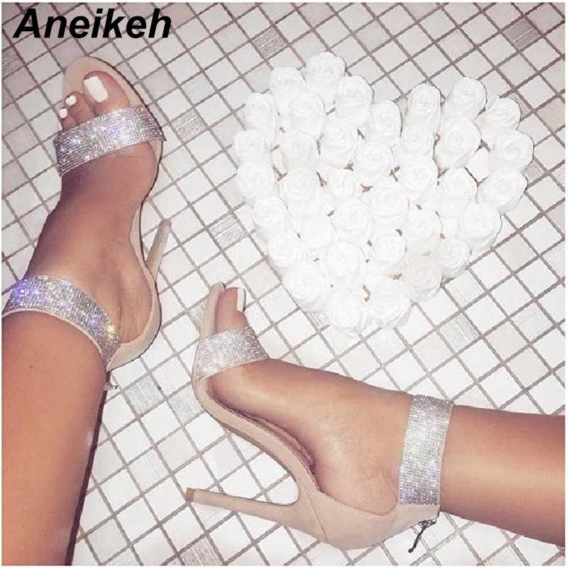f6057a266c0 Detail Feedback Questions about Aneikeh 2018 Bling Bling Rhinestone  Stiletto High Heels Dress Wedding Shoes For Ladies Open Toe Summer Ankle  Strap Sandals ...