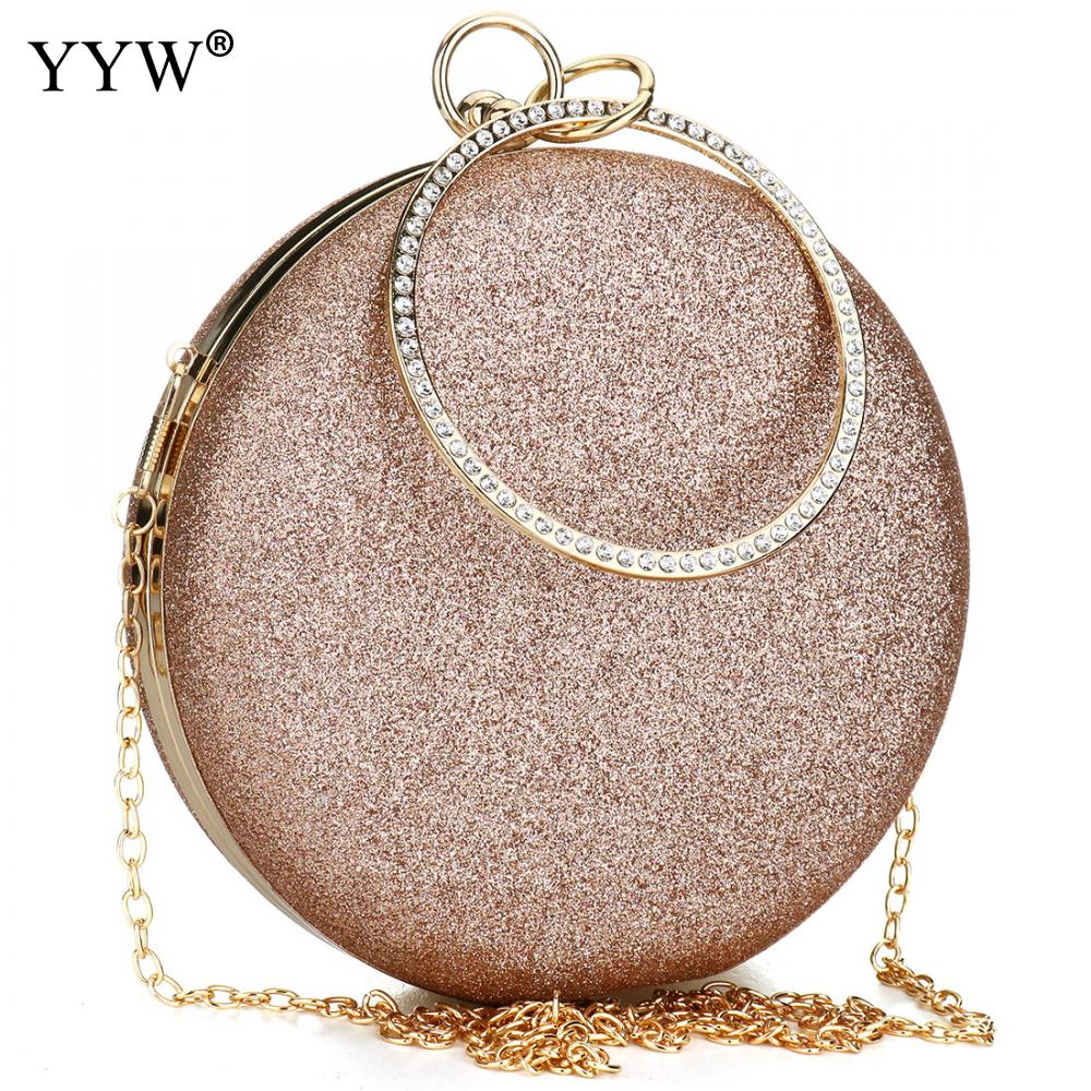 Image 3 - Women Wedding Evening Clutch Round Bag Purses Handbags Crossbody Party Shoulder Bags Clutch Rose Gold Gillter Handbag-in Top-Handle Bags from Luggage & Bags
