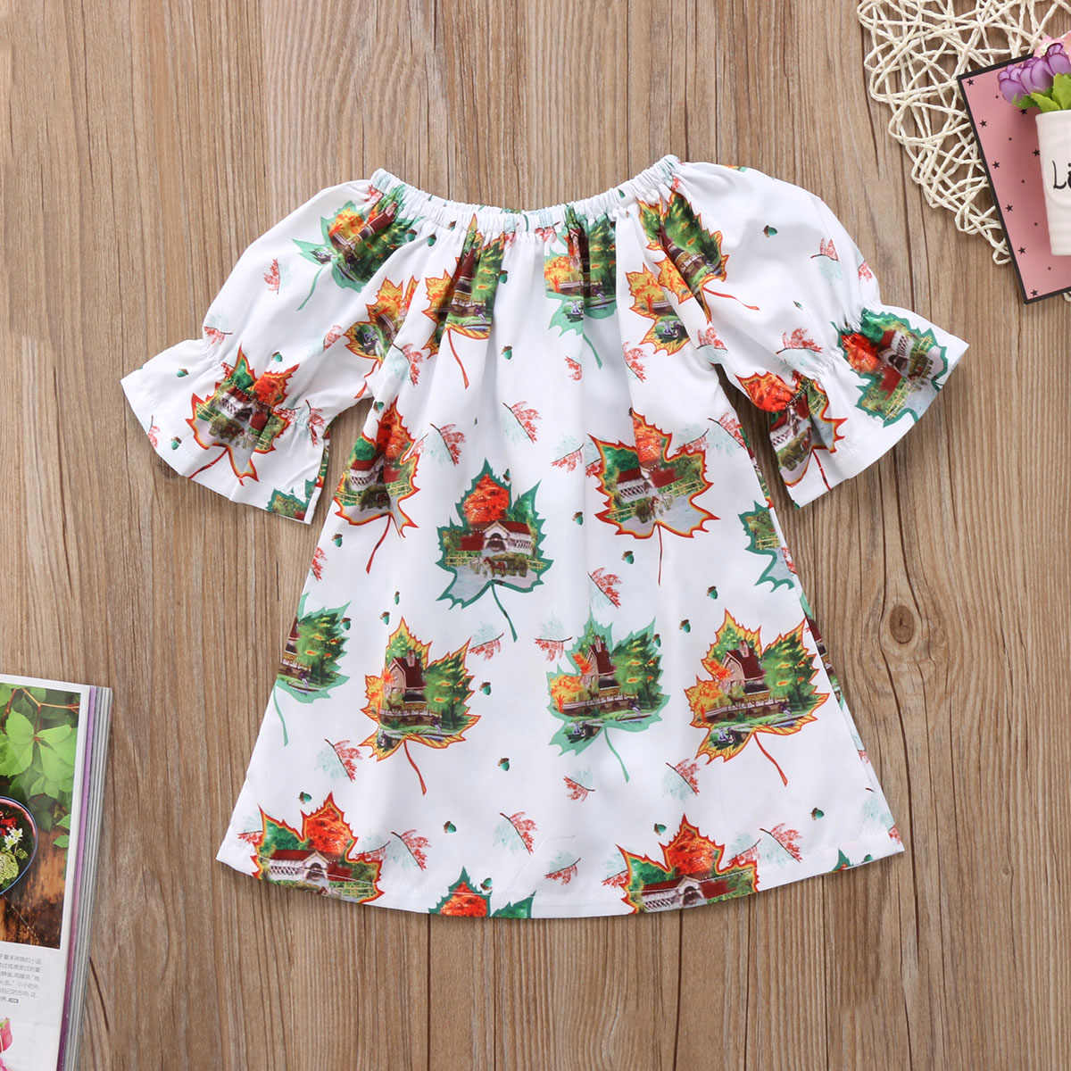c657b41e4 ... Xmas Toddler Kids Girls Maple Leafs Sundress Party Dress Clothes Casual  Adorable Baby Girl Summer Cartoon ...