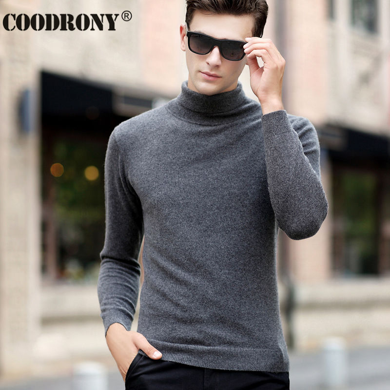 COODRONY Classic Turtleneck Cashmere Mens Sweaters Winter Thick Warm Christmas Sweater Men 100% Pure Merino Wool Pullover Men 36
