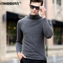 Coodrony clássico gola alta cashmere masculino suéteres inverno grosso quente natal suéter masculino 100% puro lã merino pulôver masculino 36