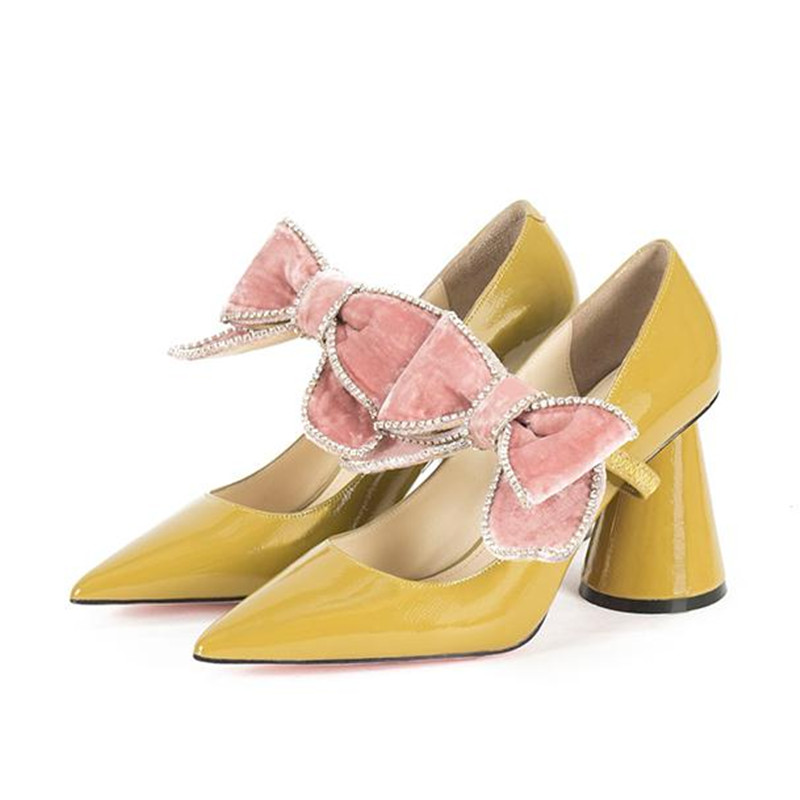 2019 Spring New Bow Pointed High Heels Women Shoe Fashion