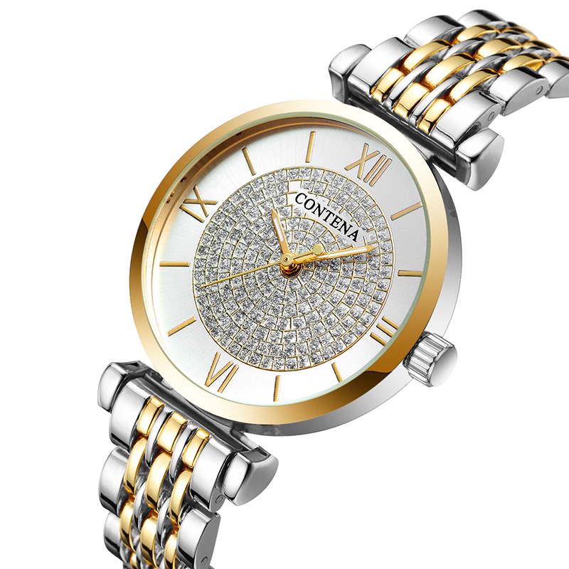 CONTENA Watch Women Diamond Fashion Rose Gold Watches Relogio Feminino Women Watches relogio feminino Ladies Watch Clock Reloj contena luxury gold watch women watches fashion women s watches ladies watch saat reloj mujer relogio feminino