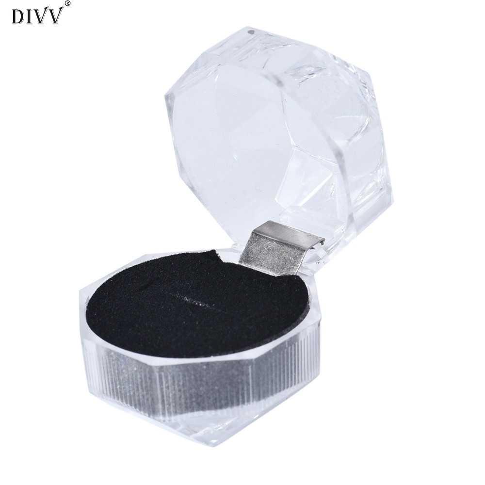 DIVV Glückliche Geschenke Drei Farben Haushalt Box Home Storage Tragbare Acryl Schmuck Verpackung Halter Ring Transparente Geschenk Box