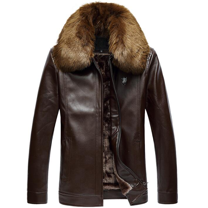 все цены на Winter plus velvet removable fur collar medium-long leather jacket men jaqueta de couro mens coats thicken chaqueta cuero hombre