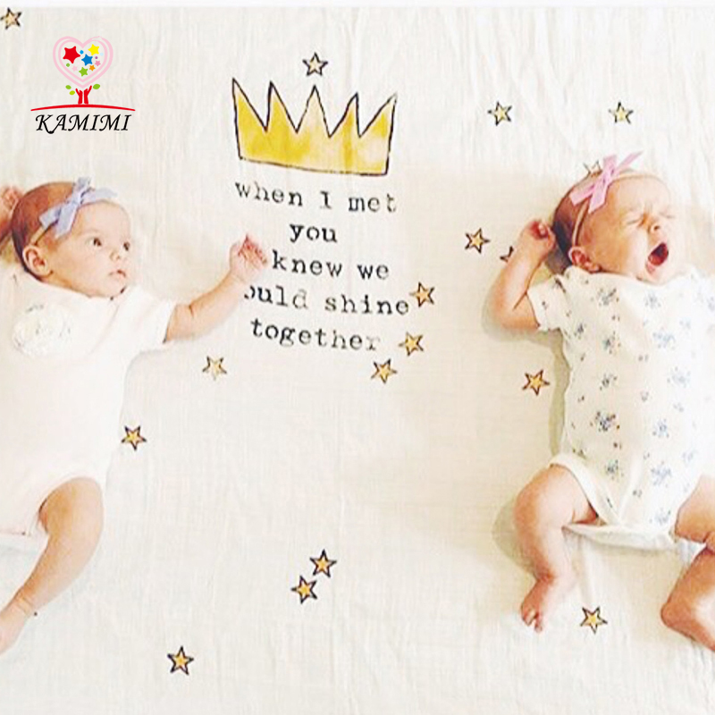 2017 Newborn Baby Soft Towels Organic Cotton Baby Bath Towel Cartoon Crown Stars Pattern Infants Baby Bath Towel I006