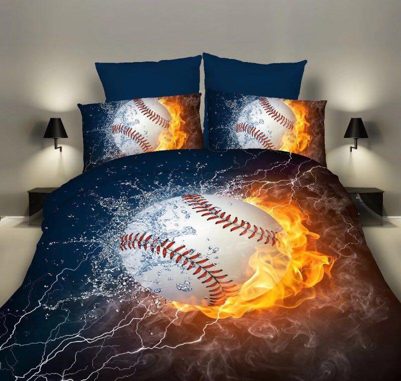 Bettwäsche Sets 2/3 stücke 3D Duvet Abdeckung Bettlaken Kissen Fällen Größe EU/CN/UNS Königin König Flamme baseball Drop Verschiffen