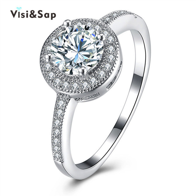 Visisap Shinning Round Stone Wedding Acceorises Thin Rings For Women