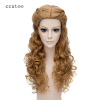 Ccutoo 65cm Blonde Mix Wave Long Central Part Styled Synthetic Hair Cosplay Full Wigs For Female