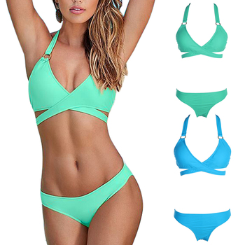 Bikinis Women 2017 Halter Bandage Bikini Women Swimsuits Brazilian Push Up Bikini Set Two Piece Bathing Suits Plus Size Swimwear
