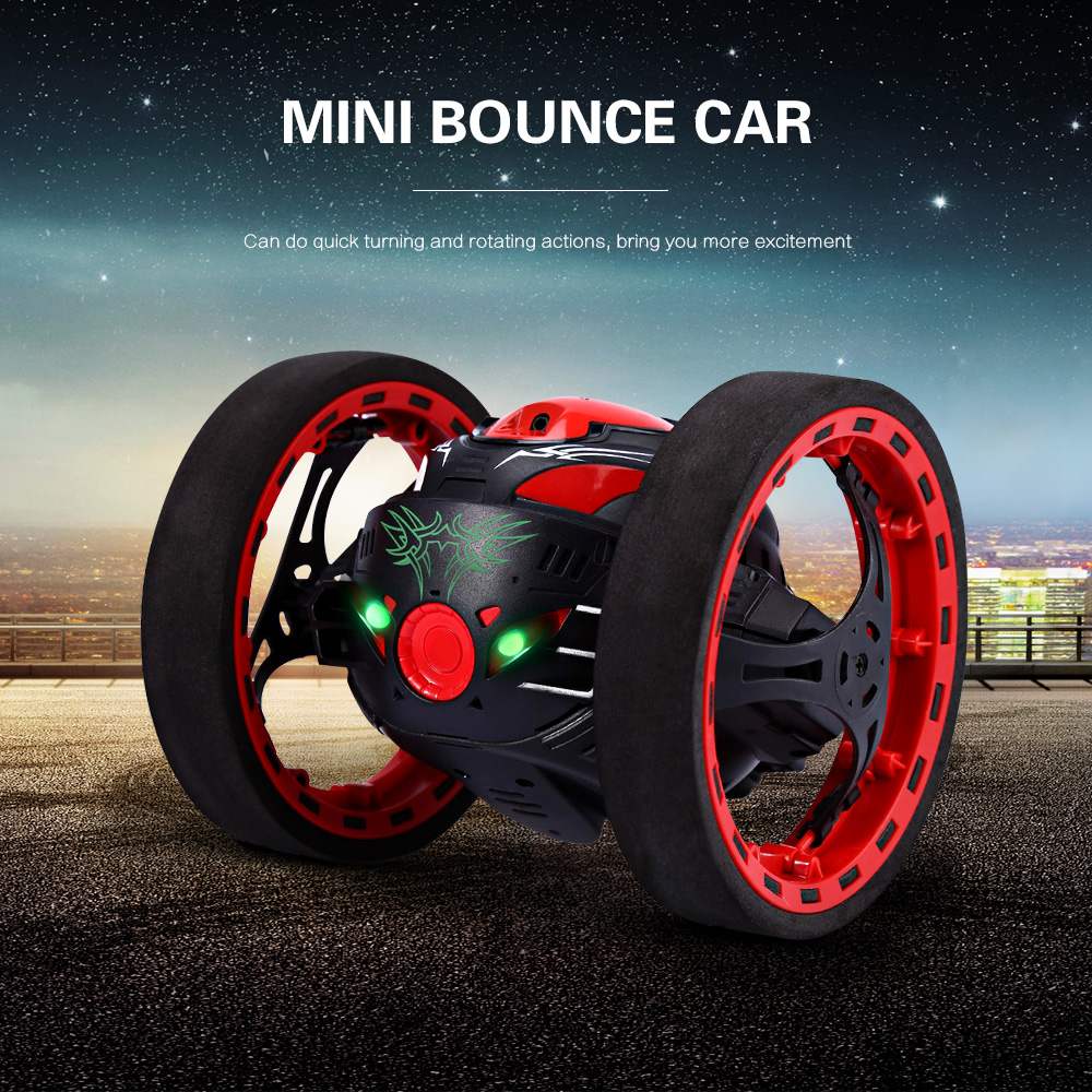 Original Mini Bounce Car Jumping RC Car Flexible Wheels Remote Control Robot Car LED Night Lights Shockproof Function RC Cars цена 2017