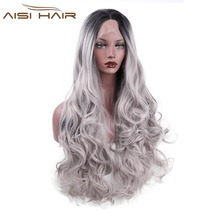 I's a wig  Lace Front Ombre Wigs for Black Women Long Wavy Grey Synthetic Hair With Heat Resistant