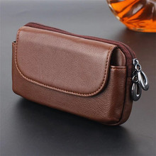 Universal Phone Waist Bag Genuine Leather Wallet Case Cover Pouch for Apple Samsung Sony LG Nokia Asus Huawei Size 5.0~6.0 inch