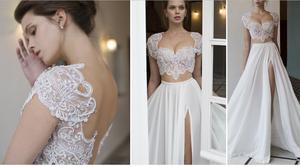 Erosemariée nouveauté 2019 deux pièces robes de mariée haut court robe de mariée Sexy robe fendue sur mesure vestido de noiva