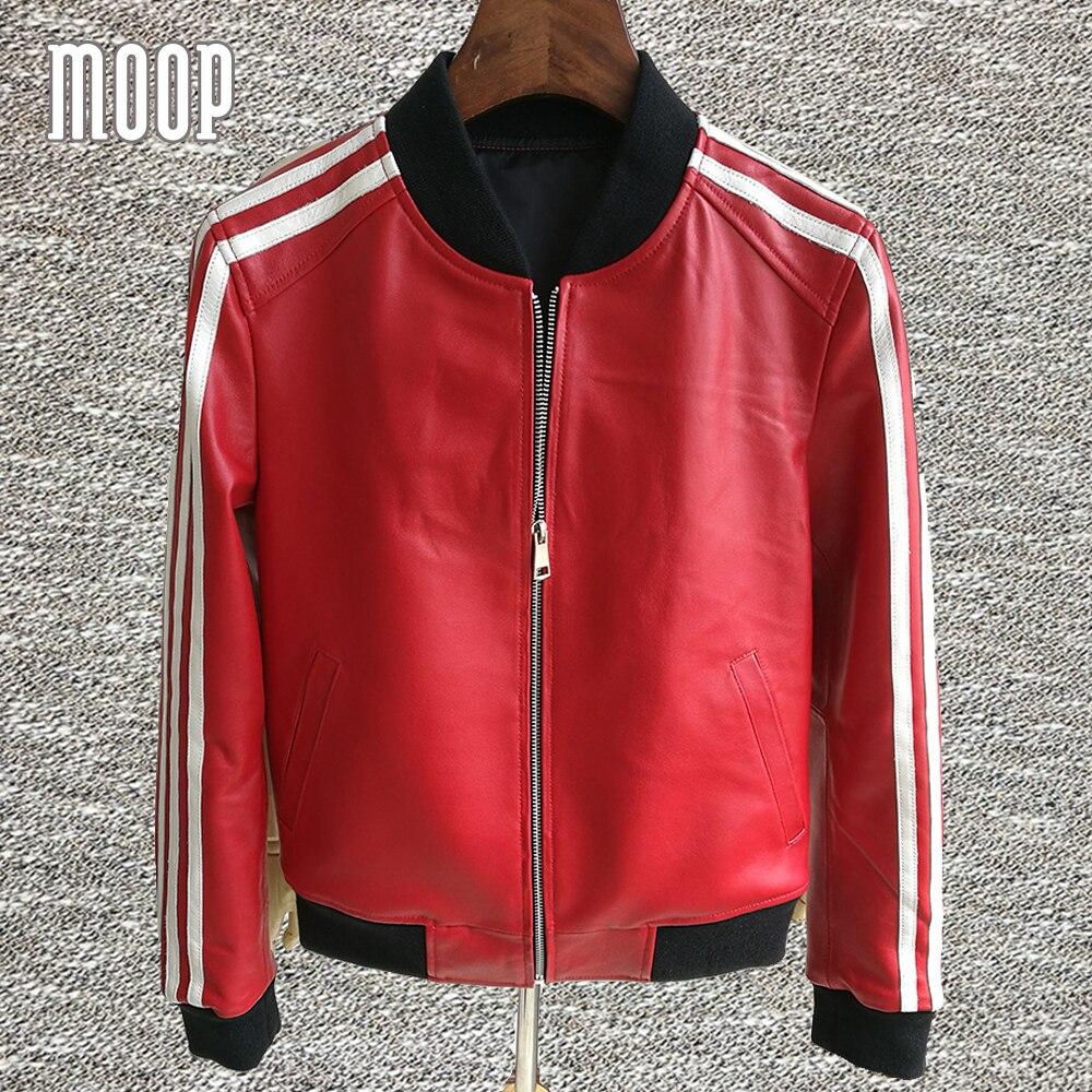 side striped black red genuine leather jackets women. Black Bedroom Furniture Sets. Home Design Ideas