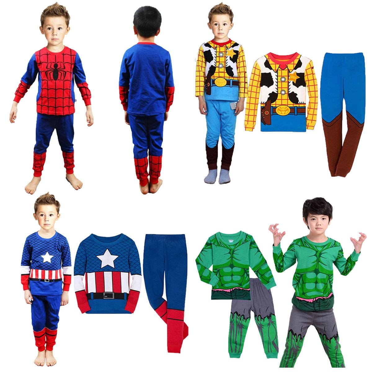 kids Boys Superhero Hulk Spiderman Captain Dinosaur   Pajamas     Set   Toddler Avengers Ironman Sleepwear Children Cosplay Nightwear