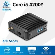 Intel Core i5 4200Y Мини-ПК безвентиляторный Окна 10 офис настольный компьютер Intel HD Графика 4200 Barebone HTPC мини-компьютер