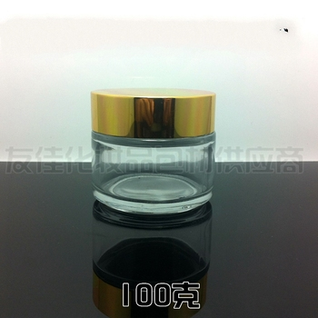25pcs wholesale empty 100g clear glass cream jar with shiny gold aluminum lid, 100 g glass  cosmetic jar,packing for eye cream