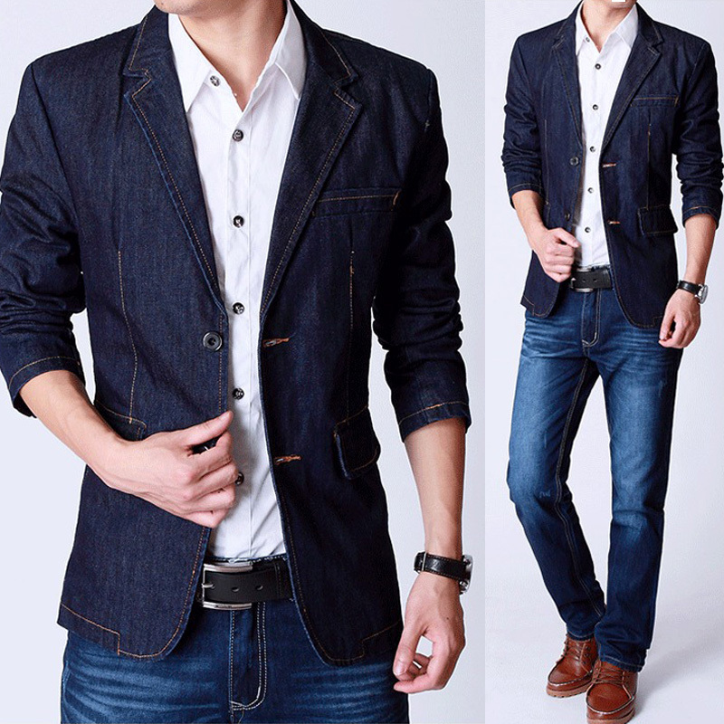 Autumn New Style Men's Slim Fitted Blue Denim Jackets , Casual ...