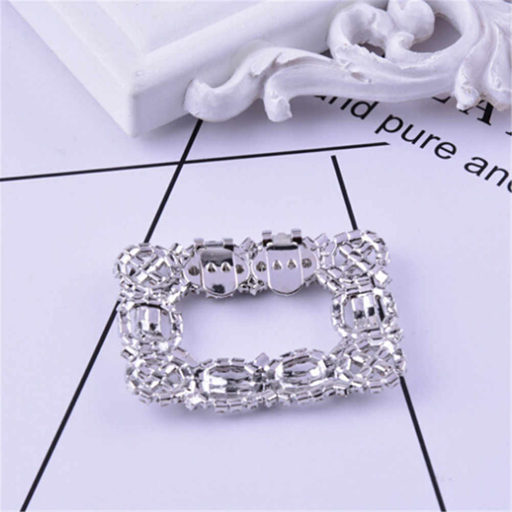 Girls Fashion Rhinestone Shoes Buckle Elegant Women Silver Shoe Square Bowknot Shape Clips For Shoe Decorations 2 Styles