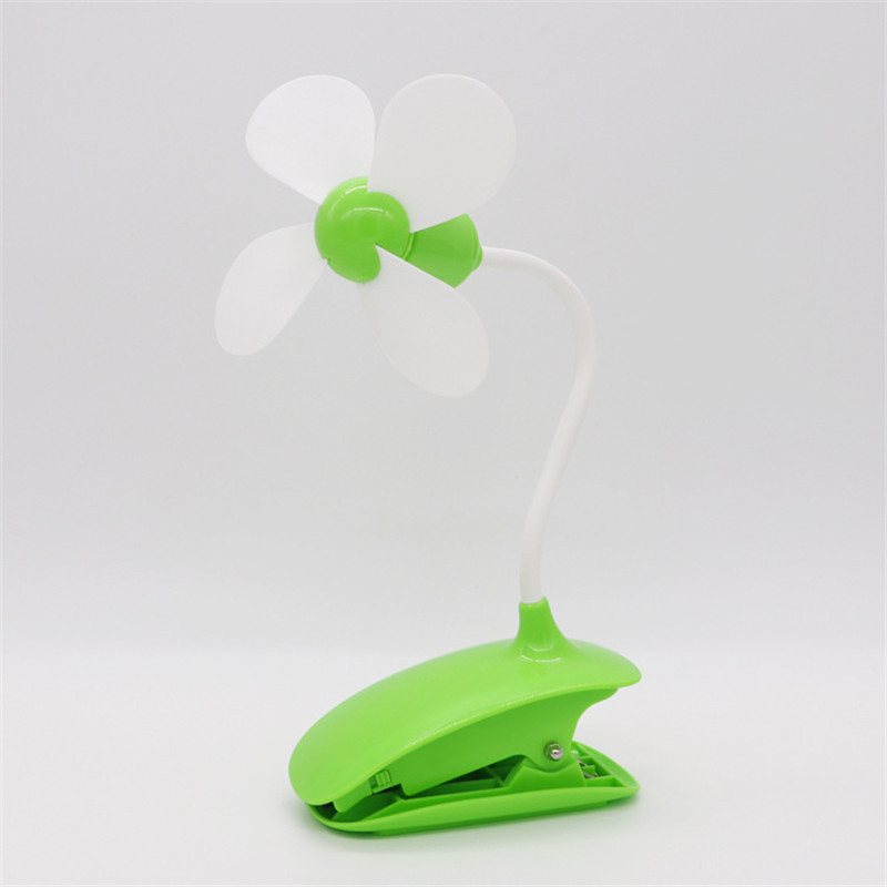 USB Four-leaf Clip Small Electric Table Mini Rotary Fan Gift Rechargeable Student Office Desktop Fan Summer Mute Dormitory