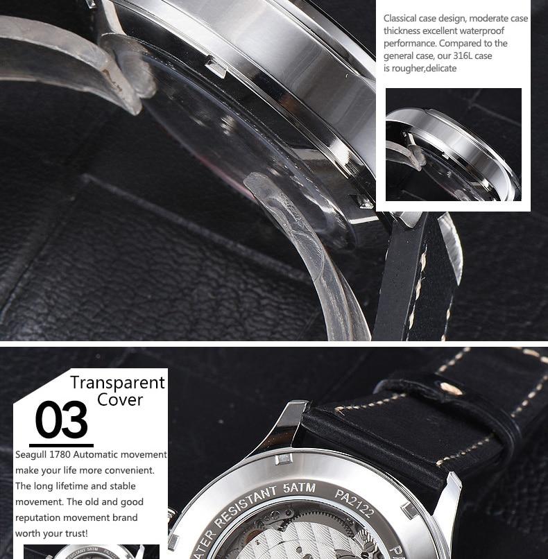 2019 Luxury Man Parnis Power Reserve Automatic Watch Mechanical Self Winding Men Watches mekanik kol saati relogio automatico